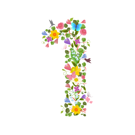 ornate font consisting of the spring flowers and flying hummingbirds. floral number one