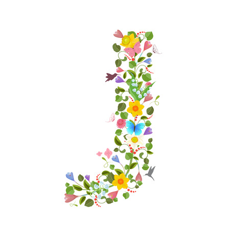 consisting: ornate capital letter font consisting of the spring flowers and flying hummingbirds. floral letter j Illustration