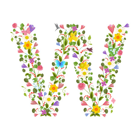cartoon insect: ornate capital letter font consisting of the spring flowers and flying hummingbirds. floral letter w Illustration