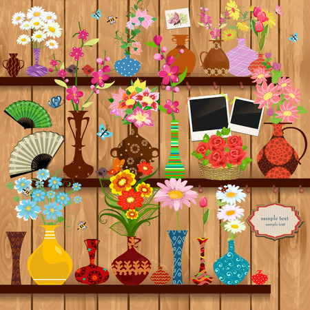 wooden shelves: Wooden shelves with lovely flowers and photo frames for your design