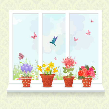 cartoon window: lovely flowers planted in ceramic pots on a windowsill for your design