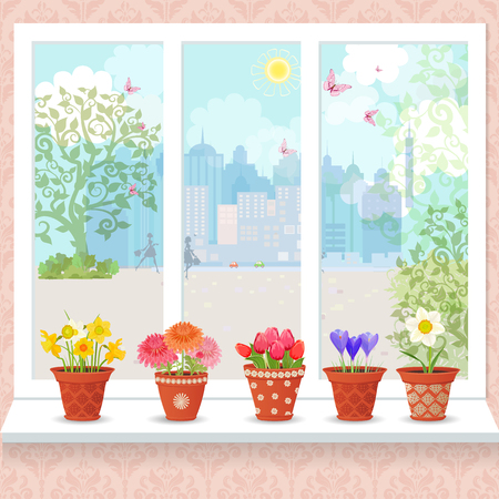 windowsill: cute flowers planted in ceramic pots on a windowsill for your design Illustration