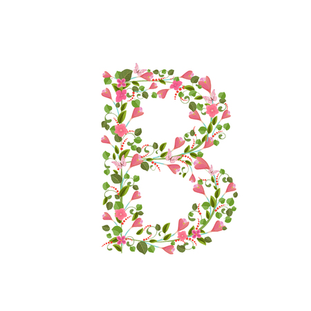 Floral font with with spring pink flowers. Romantic alphabet letter B