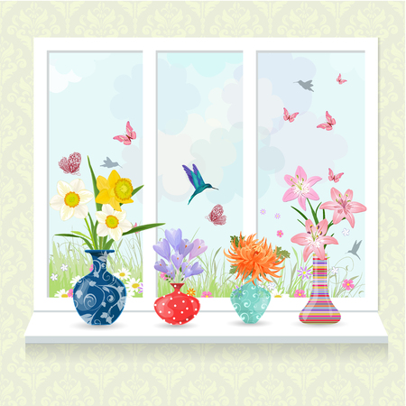 romantic collection of modern glass vases with flowers on window sill for your design