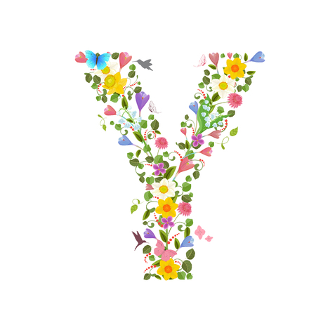 y ornament: ornate capital letter font consisting of the spring flowers and flying hummingbirds. floral letter y