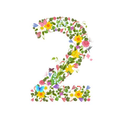 ornate font consisting of the spring flowers and flying hummingbirds. floral number two Ilustração Vetorial