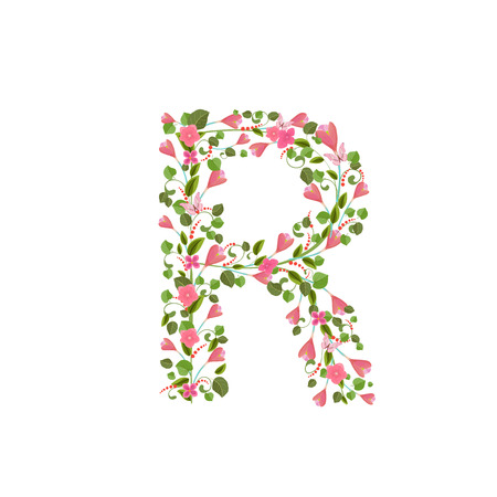 romantic: Floral font with with spring pink flowers. Romantic alphabet letter R Illustration