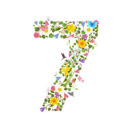 consisting: ornate font consisting of the spring flowers and flying hummingbirds. floral number seven