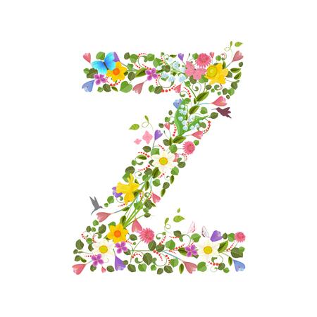 Capital de la letra ornamentada que consiste en las flores de primavera y colibríes volando. floral letra z Ilustración de vector