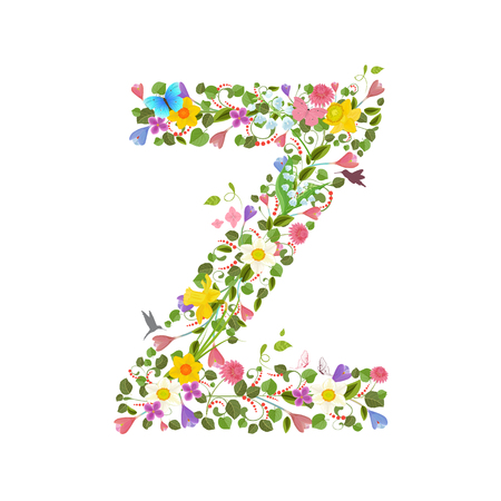 flower font: ornate capital letter font consisting of the spring flowers and flying hummingbirds. floral letter z Illustration