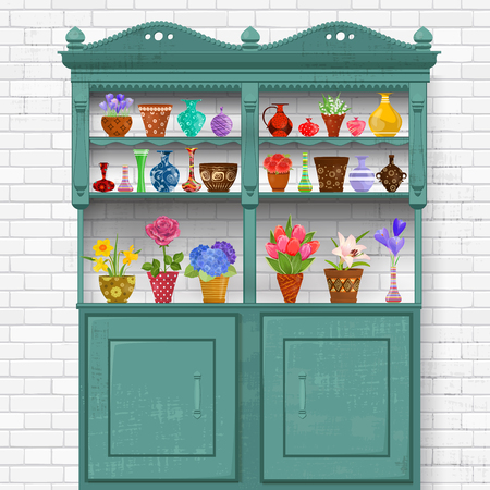 flowers bouquet: rustic kitchen interior with grunge vintage cupboard. beautiful flowers planted in cute ceramic pots and art vases