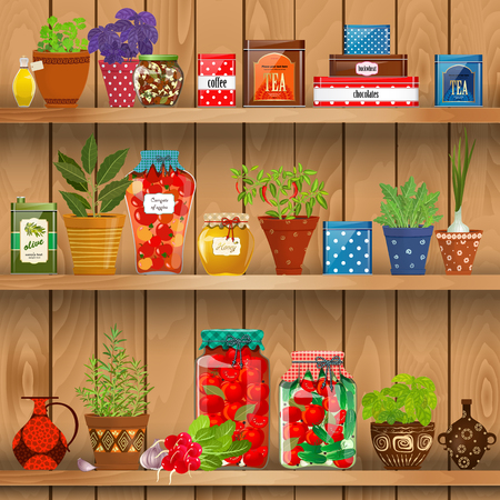 preserved: shelves with Fresh produce and herb planted in pottery pots. preserved food at home  on background of wood wall Illustration