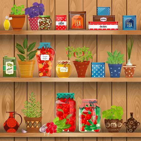 étagères avec des produits frais et d'herbes plantées dans des pots de poterie. préservée nourriture à la maison sur fond de mur en bois