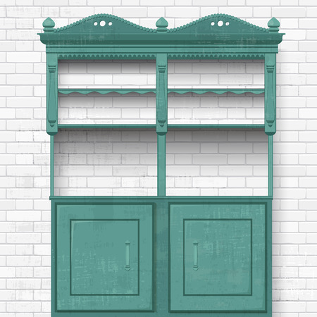 empty vintage cupboard for your design