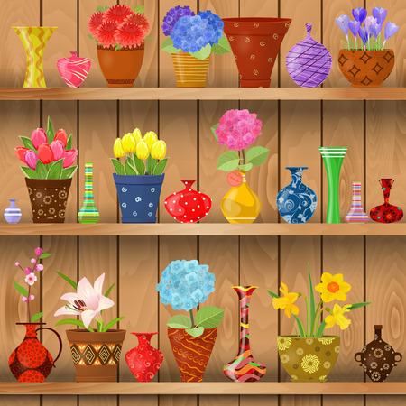 vases: modern glass vases and flowers planted in art pottery pots on wooden shelves for sale