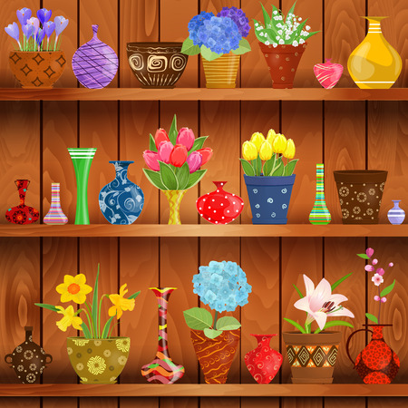 wooden shelves: rustic interior with glass vases and flowers planted in cute ceramic pots on wooden shelves