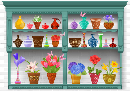 cupboard with modern glass vases and flowers planted in art pottery pots on background white brick wall for sale
