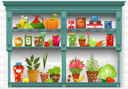 étagères avec des produits frais et d'herbes plantées dans des pots de poterie. préservé la nourriture à la maison sur fond de briques mur blanc