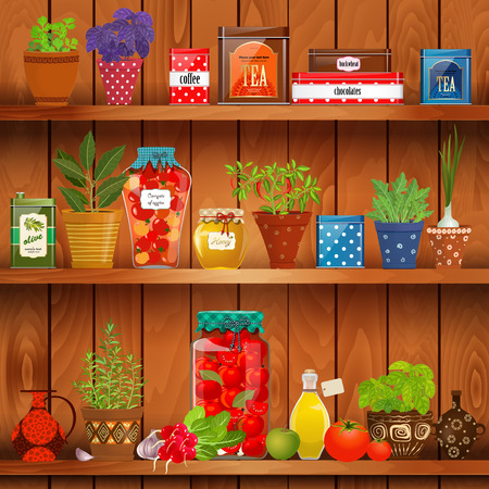 planted: shelves with delicious organic food and different herb planted in pottery pots on background of wood wall