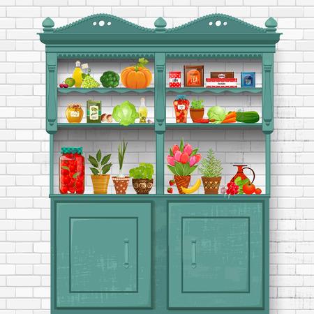 Armoire vintage avec des aliments biologiques délicieux et herbes différents plantés dans des pots en céramique sur fond de briques mur blanc Banque d'images - 60765192