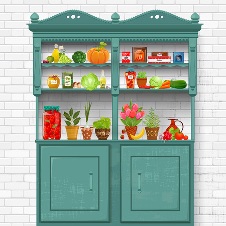 vintage cupboard with delicious organic food and different herb planted in pottery pots on background of white bricks wall