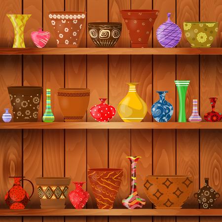 pottery: vases and art flower pots on wooden shelves for your design Illustration