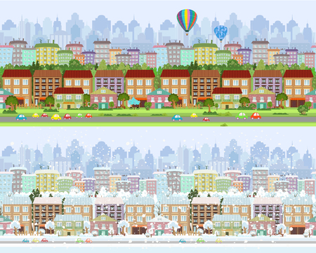 collection of seamless borders with abstract cityscape. winter and summer panorama for your design