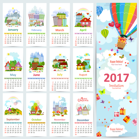 summer holiday: Calendar for 2017 with set of colorful towns. greeting card with hot air balloon with gifts for your design