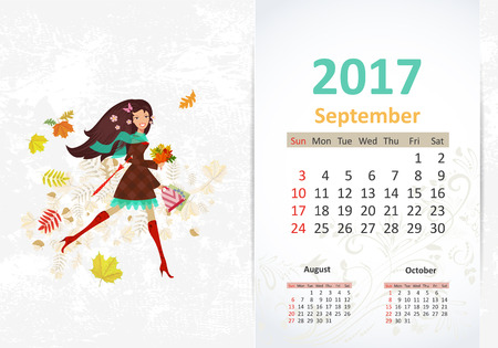 calendar september: nice young woman walking with shopping bags and umbrella. fun Calendar for 2017, September