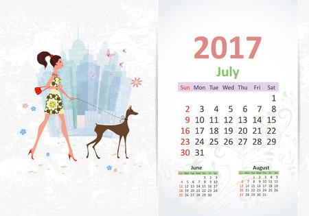 calendario julio: bonita mujer joven y su perro están caminando en la ciudad. Calendario divertido para 2017, Julio
