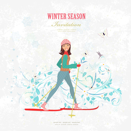 country girl: sport Invitation card with a happy girl on cross country skiing on art background with for your design