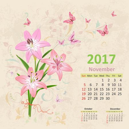 butterfly flower: lovely bouquet of pink lilies on grunge background. Vintage Calendar for 2017, November Illustration