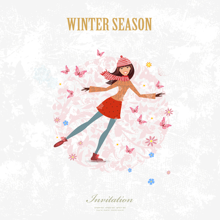 sport woman: sport Invitation card with a nice young woman figure Skater on art background with for your design Illustration