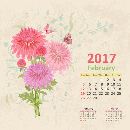 almanac: lovely bouquet of pink chrysanthemums on grunge background. Vintage Calendar for 2017, February