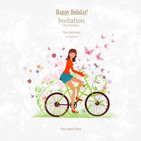 Tarjeta de la invitación del deporte con una niña feliz montando en bicicleta en el fondo del grunge con el modelo de la flora para su diseño