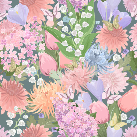 fancy: seamless texture with different flowers and butterflies. floral fancy