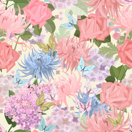 mix: seamless texture with delicate flowers and butterflies. floral mix for your design