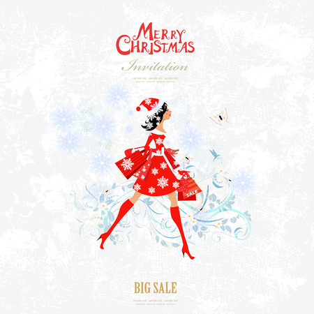 Invitation card with pretty girl is walking with shopping bags for your design. big sale. merry christmas