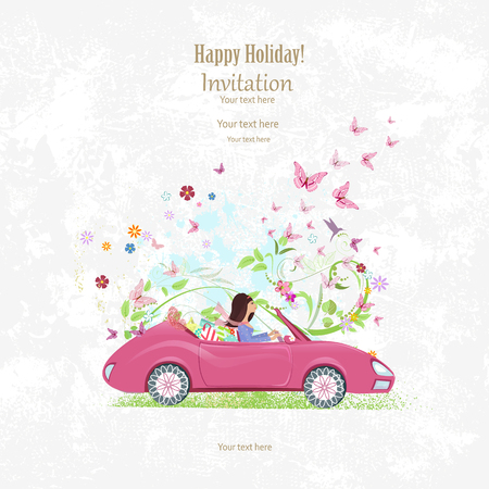 Invitation card with pretty girl in pink convertible on grange background for your design Фото со стока - 61933921