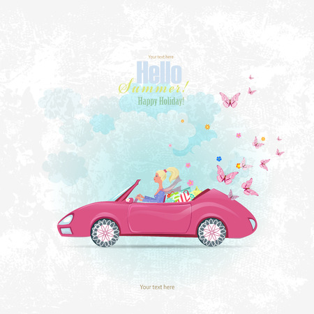 beauty shop: Invitation card with pretty girl in pink convertible with shopping bags for your design