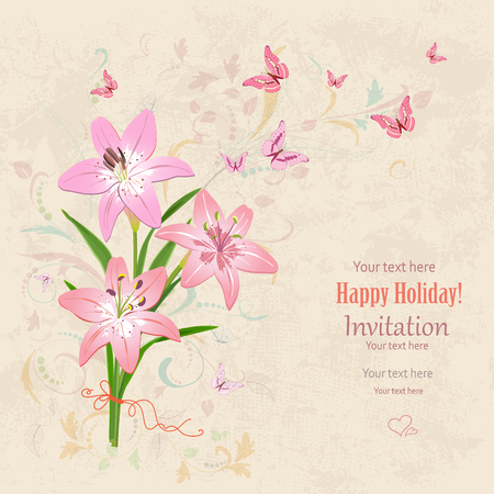 paper art: lovely bouquet of pink lilies with flying butterflies on grunge background. vintage invitation card for your design