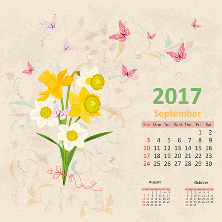 calender: lovely bouquet of yellow and white daffodils on grunge background. Vintage Calendar for 2017, September Illustration