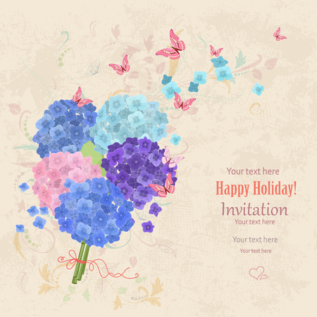 lovely bouquet of blue and pink hortensia with flying butterflies on grunge background. vintage invitation card for your design