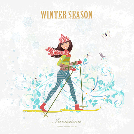 country girl: sport Invitation card with a happy girl on cross country skiing on grunge background with flora pattern for your design