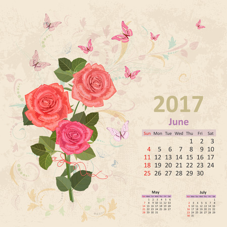 calender: lovely bouquet of pink roses on grunge background. Vintage Calendar for 2017, June