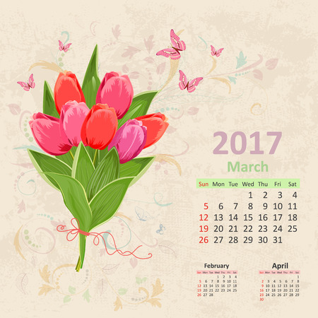 calender: lovely bouquet of pink tulip on grunge background. Vintage Calendar for 2017, March Illustration