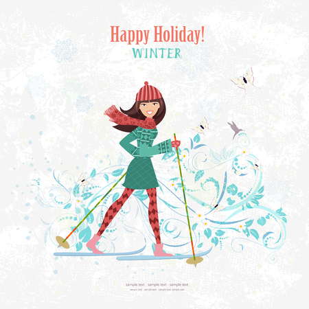 winter girl: sport Invitation card with a nice girl on cross country skiing on grunge background with flora pattern for your design