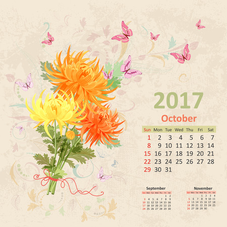 monthly planner: lovely bouquet of yellow and orange chrysanthemums on grunge background. Vintage Calendar for 2017, October Illustration