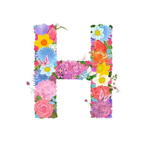 Fashion alphabet from lovely flowers of daffodils, roses, tulips, lily of the valley, crocus, chrysanthemums, hortensia, lilac. Romantic letter H