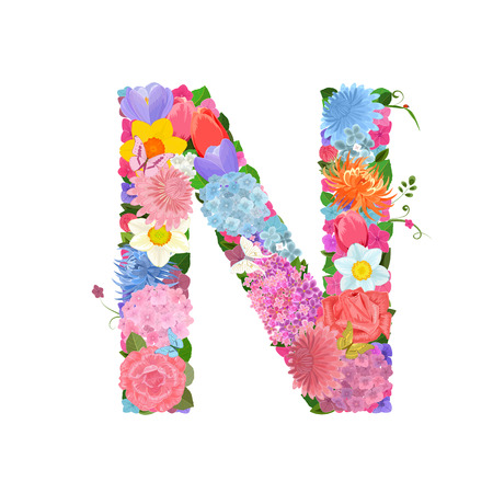 Fashion alphabet from lovely flowers of daffodils, roses, tulips, lily of the valley, crocus, chrysanthemums, hortensia, lilac. Romantic letter N